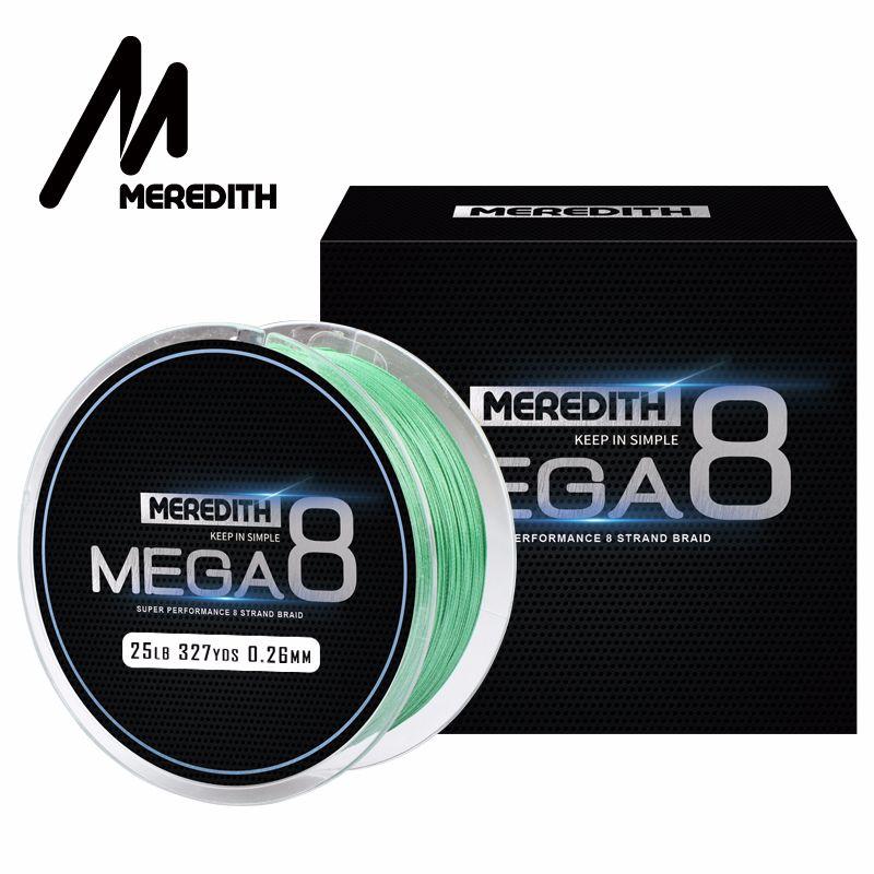 Meredith Mega8 ligne de pêche 300 M 8 fils tisse PE tressé ligne de pêche corde Multifilament 10LB 15LB 20LB 25LB 30LB 40LB 50LB