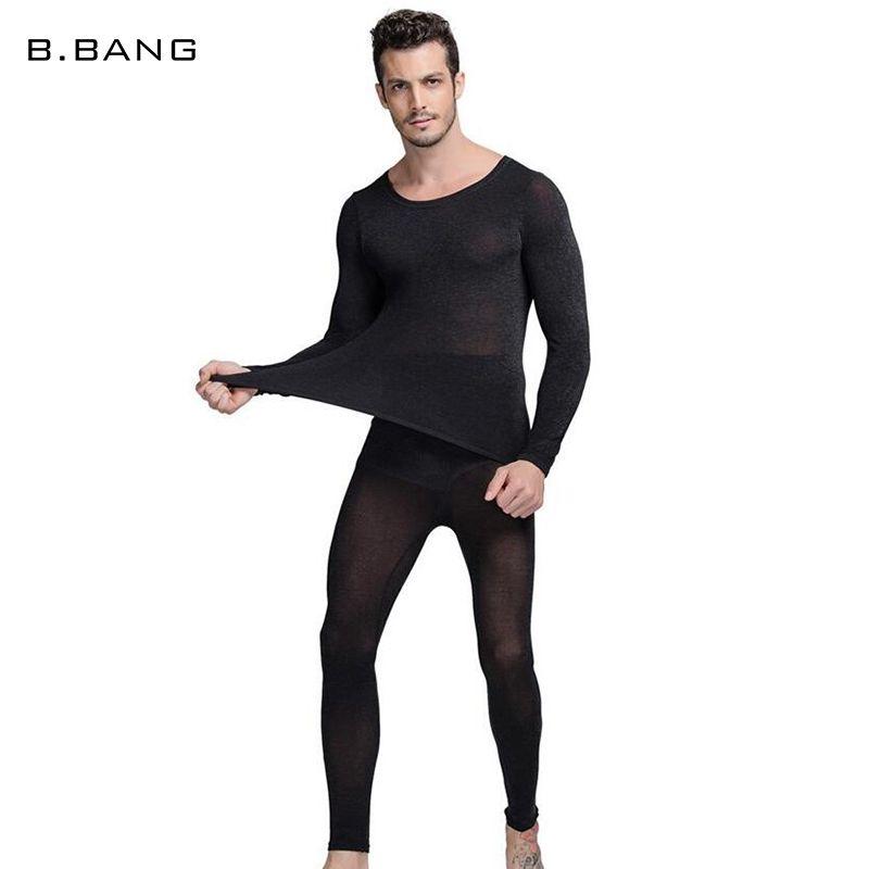 B. BANG Hot Hiver 37 Degrés Hommes Sous-Vêtements Thermiques Mis Ultra-Mince Thermique Long Johns Haute Élastique Chaud Costume Livraison taille
