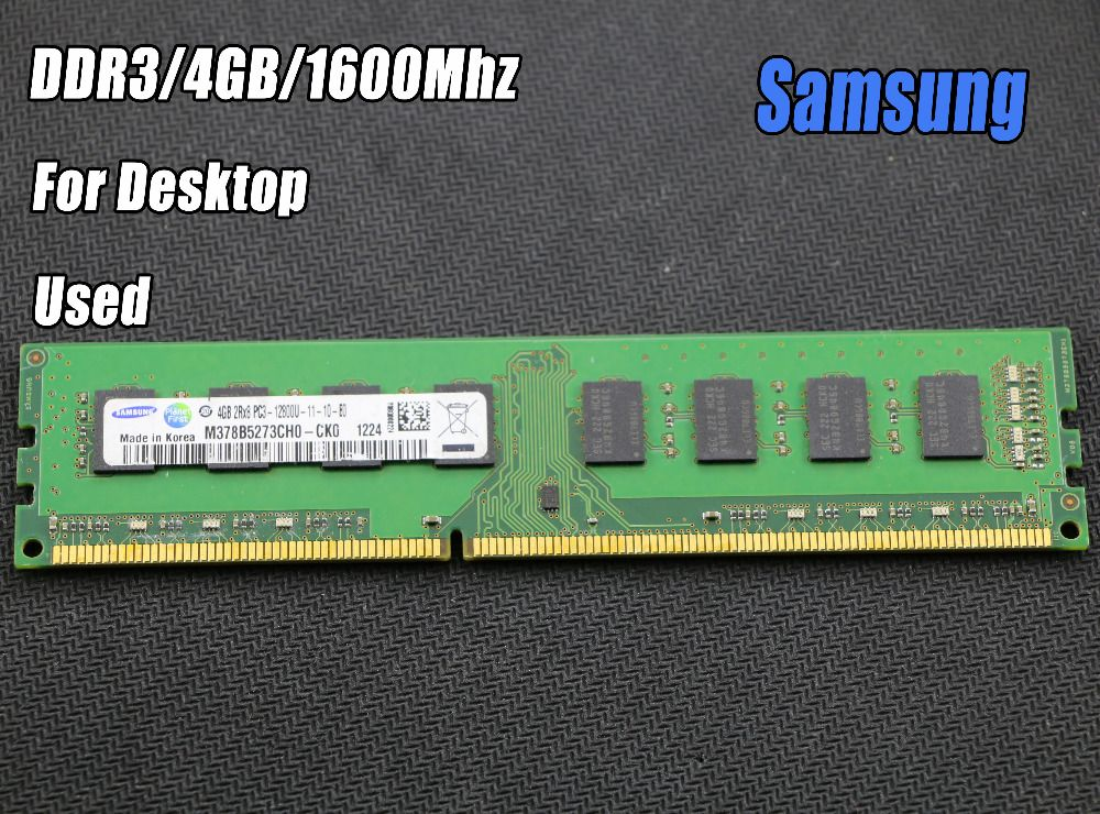 Used original samsung 4GB DDR3 PC3-12800 1600MHz Desktop PC DIMM Memory RAM 240 pins For intel for amd Fully compatible 4g 1600