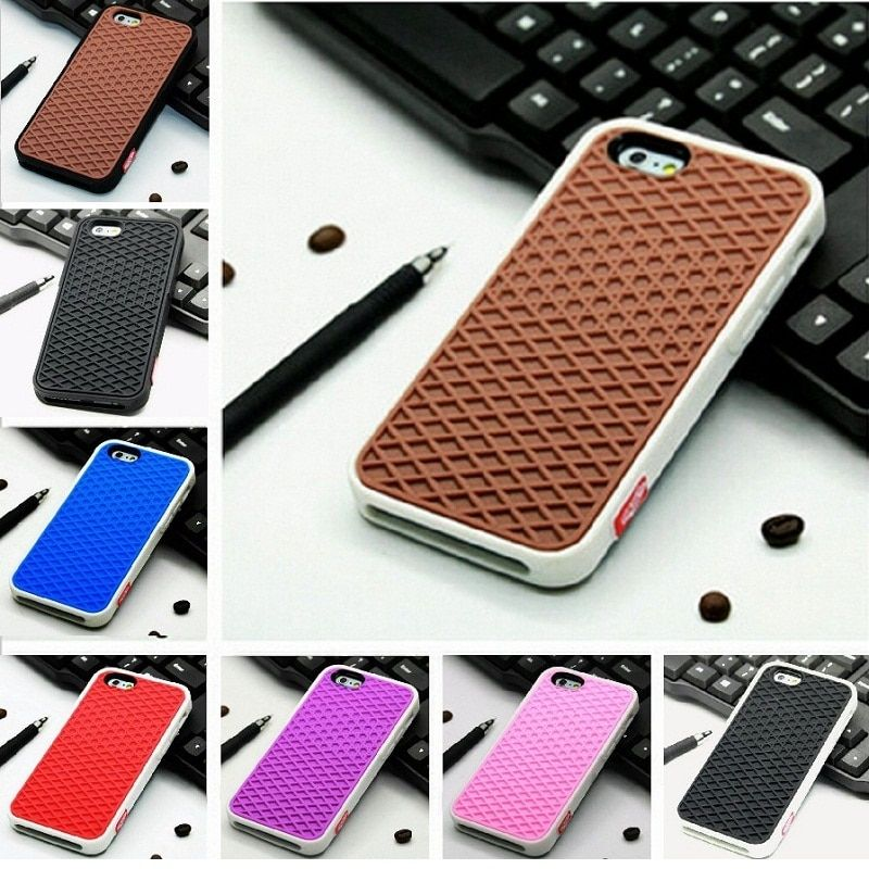 Waffle Case For Apple iPhone XS X 10 8 7 6 6S 5 5s 7 plus SE Cover Soft Rubber Silicone Waffle Shoe Sole Mobile Phone Funda