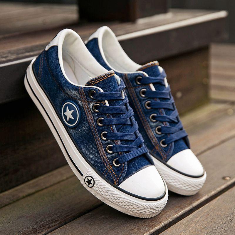 Для женщин модные кроссовки джинсовая парусиновая обувь; джинсовая текстильная обувь звезда летняя повседневная обувь кроссовки Walking скей...