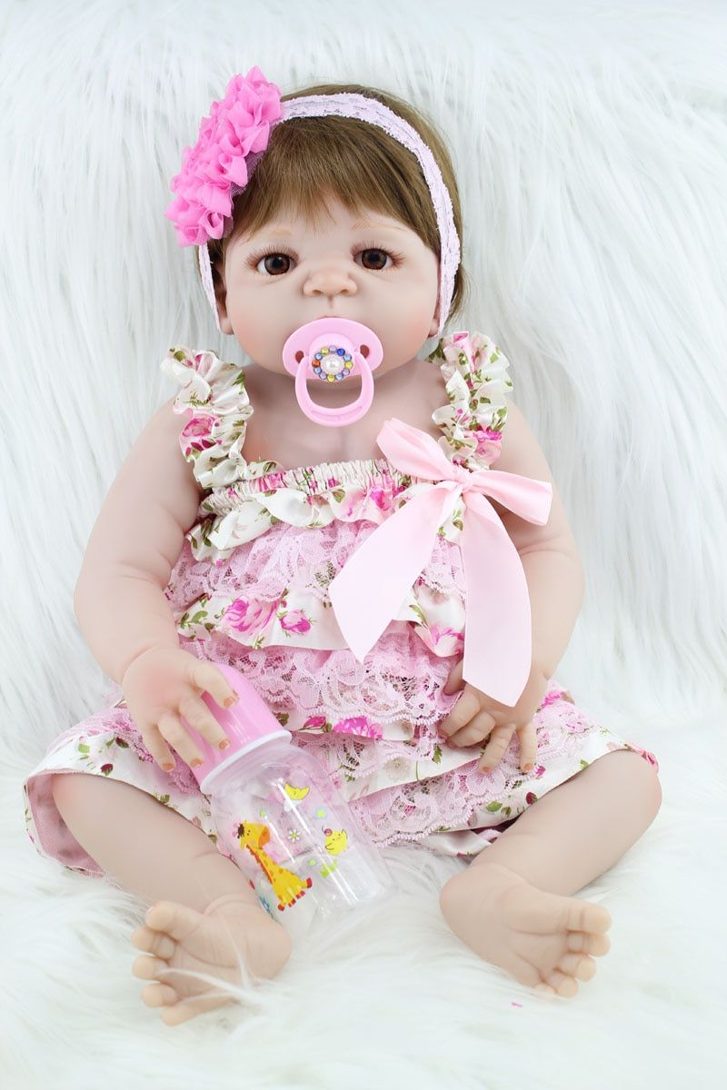 55cm Full Silicone Body Reborn Baby Like Real Doll Toys Newborn Princess Girl Babies Dolls Child Birthday Gift Present Bathe Toy