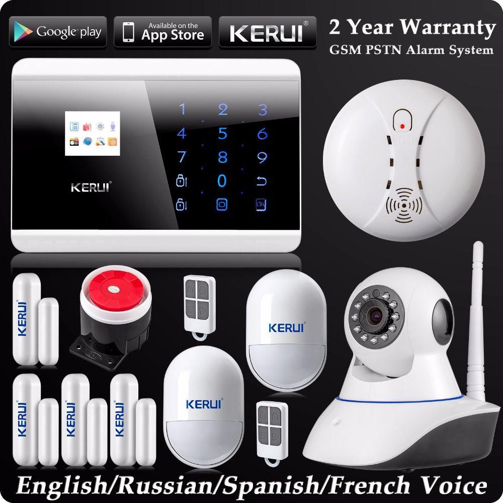 Kerui LCD Wireless Wired GSM SMS Autodial Home Alarm System Wifi IP Camera Pet Immune Motion Sensor Wireless Smoke Detector