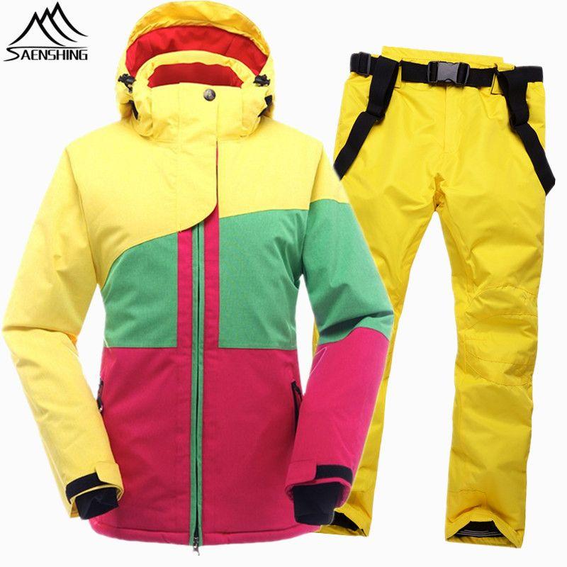 SAENSHING Winter Ski Suit Female Women Waterproof Ski Jacket Snowboard Pant Thermal Breathable Cheap Outdoor Mountain Skiing Set