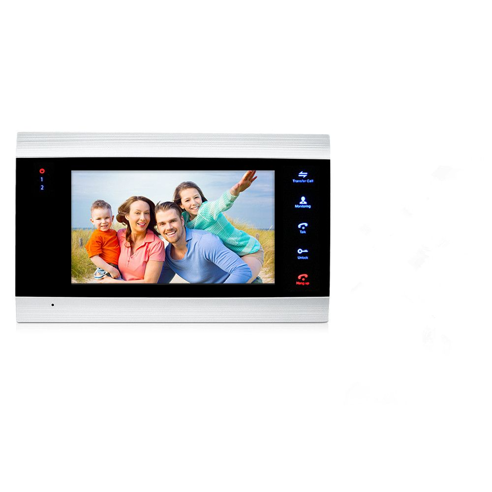 JeaTone 7 inch Indoor Monitor Video Door Phone Doorbell <font><b>Intercom</b></font> System Video Recording Photo Taking Silver Wall Mounting