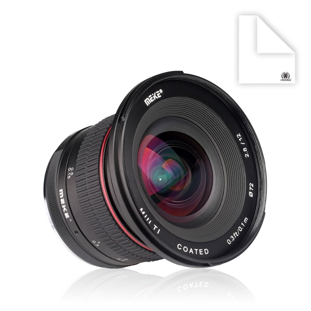 MEKE 12mm f/2.8 Ultra Wide Angle Fixed Lens with Removeable Hood for Fuji Camera with APS-C