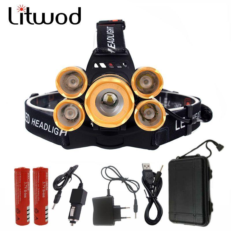 Z60T10 Litwod 15000 lumens rechargeable led headlamp T64Q5 zoomable head flashlight cree xml t6 head lamp waterproof lights
