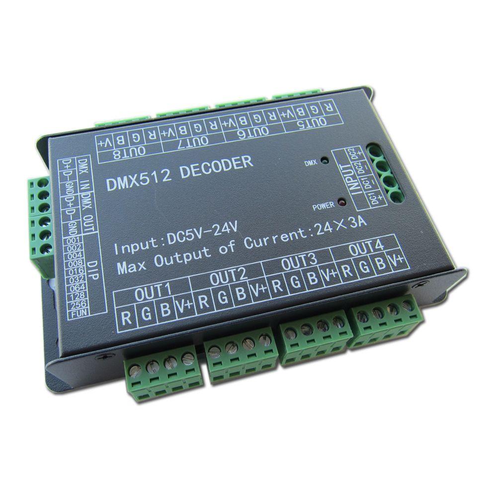 Haute Puissance 24 Canaux 3A/CH DMX512 Contrôleur Led Décodeur Gradateur DMX 512 RGB LED Bande Contrôleur DMX Décodeur Pilote Gradateur pour