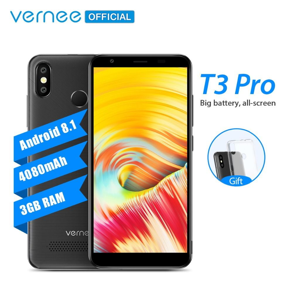 Vernee T3 Pro 5.5'' Full Screen Smartphone 3GB RAM 16GB ROM Mobile Phone Android 8.1 MTK6739 Quad-core 4080mAh 4G LTE Cellphone