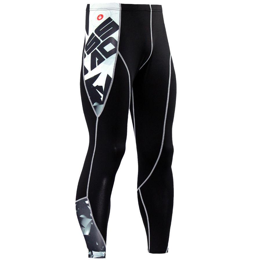 2017 Nueva Moda Para Hombre Pantalones Flacos de Las Polainas de Impresión 3D de Secado rápido Medias de Compresión Gimnasio MMA Pantalones de Costura Tousers