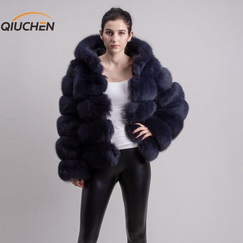 QIUCHEN PJ8143 2019 neue ankunft echt fuchs pelz mantel lange ärmeln mode pelz outfit hohe qualität frauen winter mantel mit haube