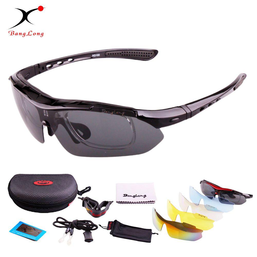 BangLong lunettes de soleil polarisées cyclisme lunettes de sport réglables UV400 lunettes de vélo moto conduite lunettes unisexe 5 lentilles