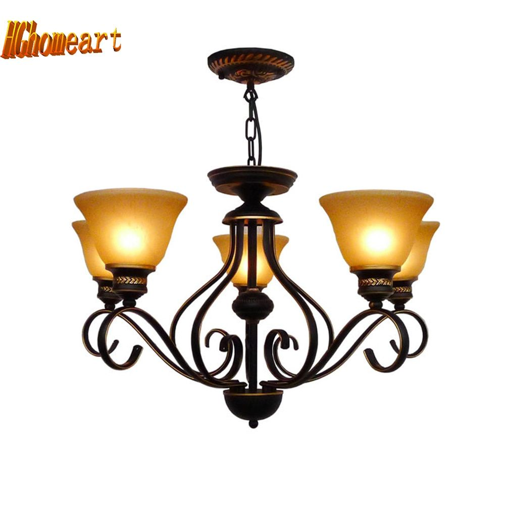Nordic Vintage Country Style Wrought Iron Chandelier E27 Bulb 110V-220V 5/60 Head Room Loft Style Led Antique Iron Chandeliers
