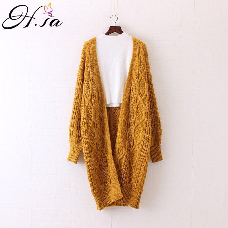 H.SA 2017 Women Long Cardigans Autumn Winter Open Stitch Poncho Knitting Sweater Cardigans V neck Oversized Cardigan Jacket Coat