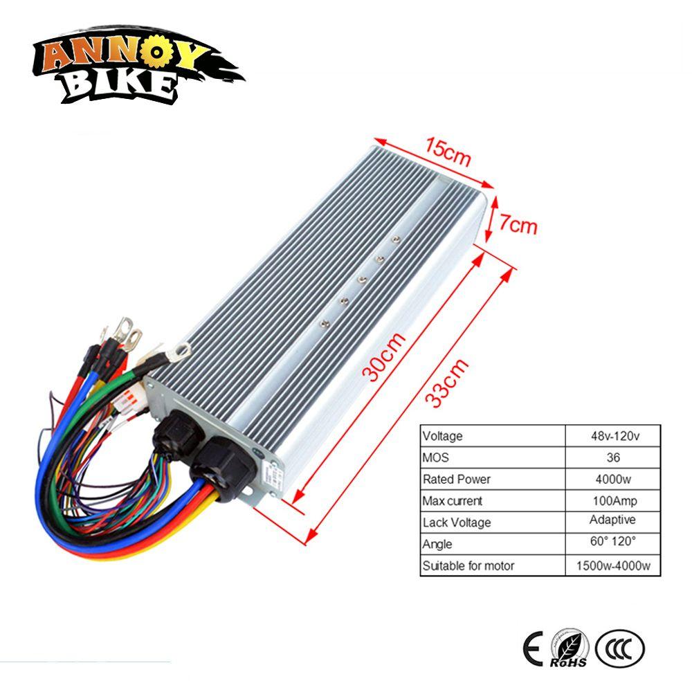 48v 60v 72V 84V 96v 120V 4000W Motor Controller 4kw 36MOS Current 100Amp Corrente Bicicleta For Electric Bike Motorcycle