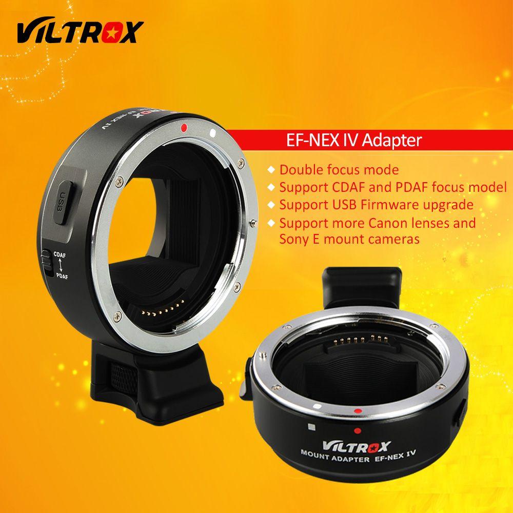 Adaptateur d'objectif de mise au point automatique Viltrox EF-NEX IV pour objectif Canon EOS EF EF-S à Sony E NEX plein cadre A9 AII7 A7RII A7SII A6500 A6300