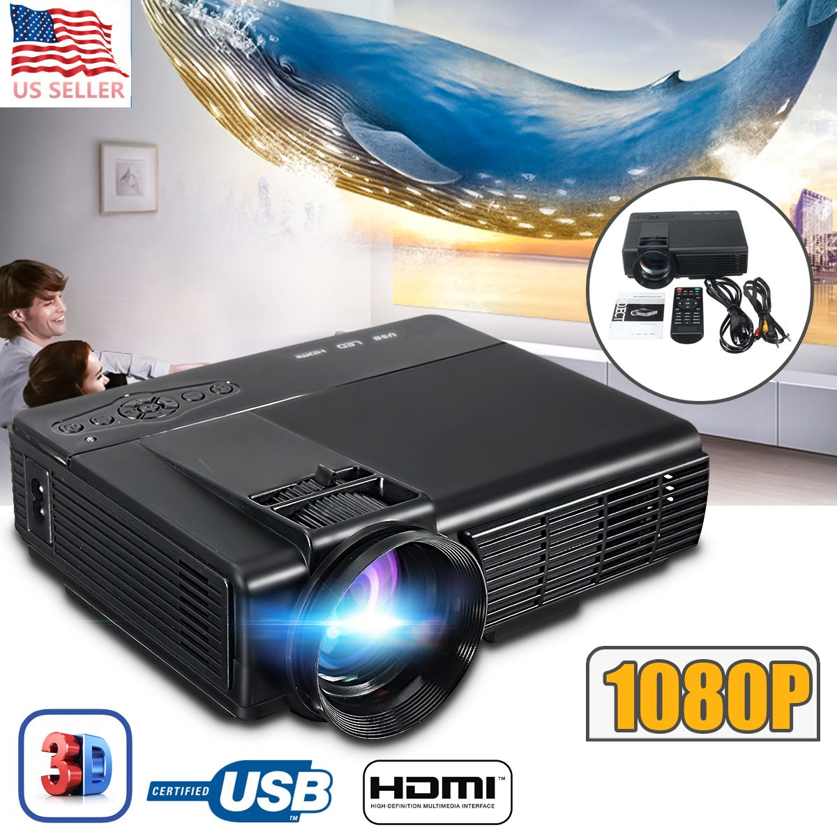3000 Lumens 3D 1080P Projector Full HD Home Theater Multimedia VGA USB HDMI LED Projector
