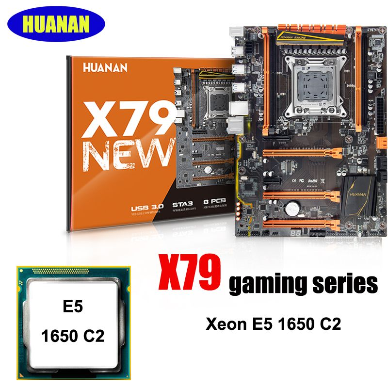 Brand HUANAN Deluxe X79 LGA2011 gaming motherboard CPU combos processor Xeon E5 1650 C2 computer assembly accessories build PC