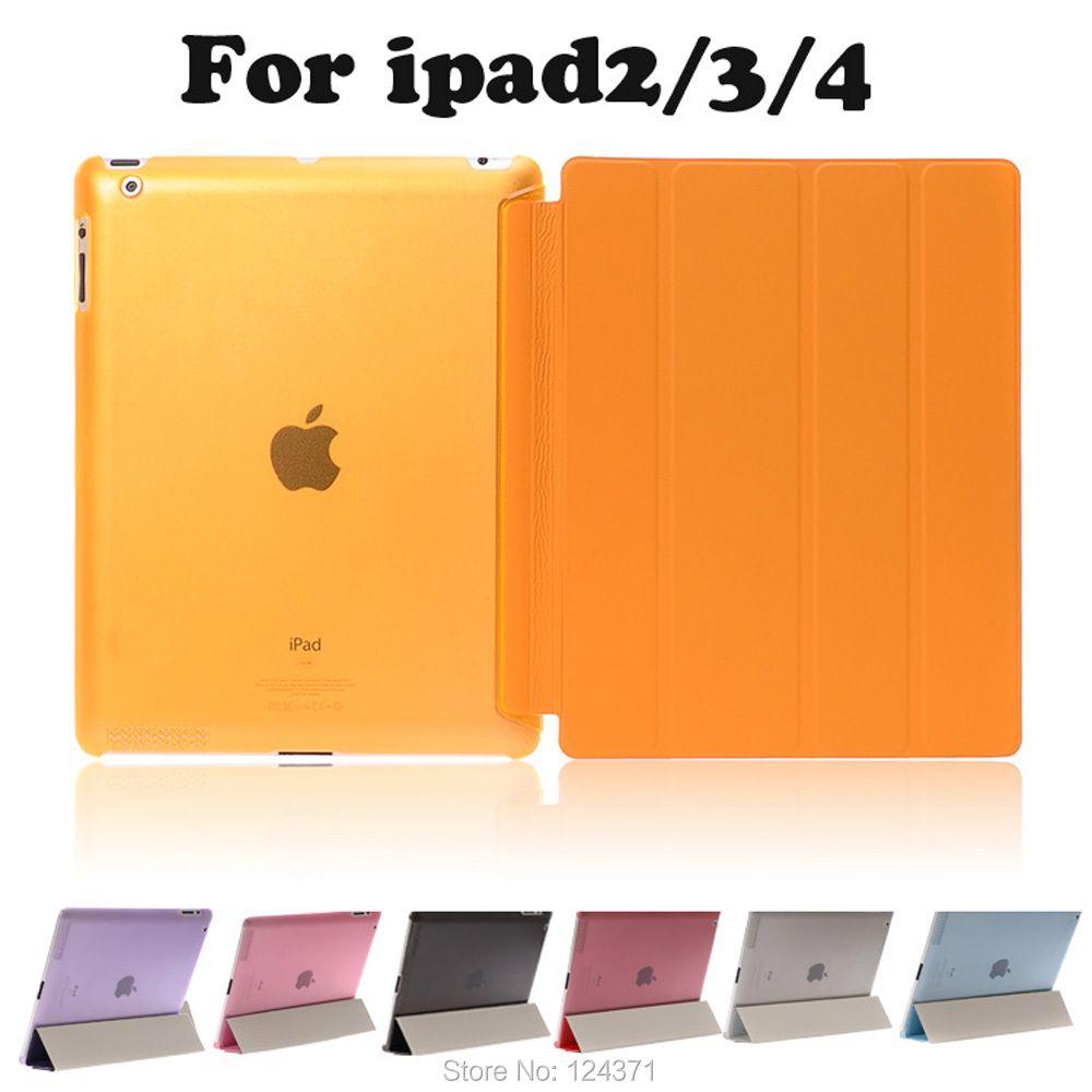 Pour apple ipad 2 3 4 9,7 pouces étui en cuir à rabat magnétique pour nouvel ipad 3 ipad 4 PU support de support intelligent couverture + Film d'écran gratuit