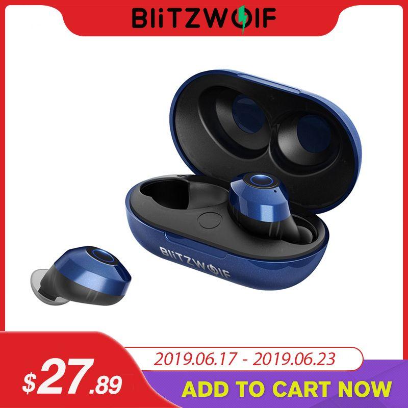 Blitzwolf FYE5 Bluetooth 5.0 Wireless True Earphone TWS Sport Earbuds 10M Connection Stereo Earphone IPX6 Waterproof-Blue Black
