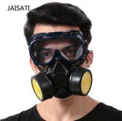 Gas Hitam Masker Darurat Keselamatan Gas Pernapasan Masker Anti Debu Cat Respirator Mask dengan 2 Perlindungan Ganda Filter Masker