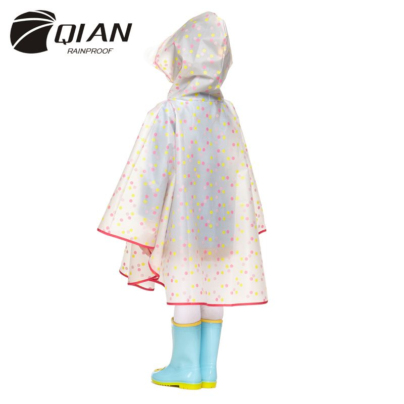 QIAN RAINPROOF Impermeable Children Raincoat Plastic Transparent EVA <font><b>Rain</b></font> Coat Waterproof Kids Rainwear <font><b>Rain</b></font> Gear Poncho