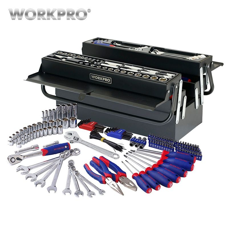 WORKPRO 183PC Tool Set Home Repair Tool Kits Metal Box With 5 Compartment Hand Tool Set Screwdriver Ratchet Wrench Socket Plier