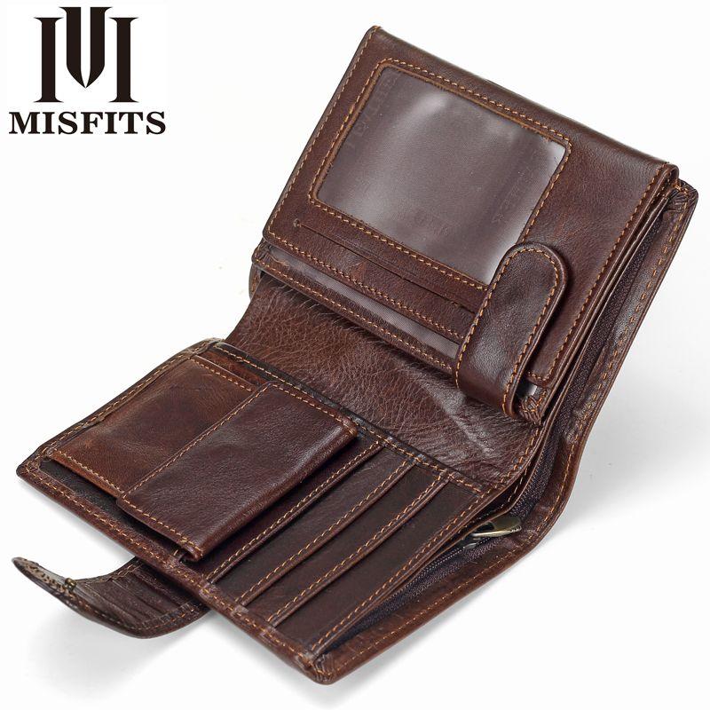 MISFITS Vintage hommes portefeuille en cuir véritable portefeuilles courts homme multifonctionnel peau de vache homme sac à main monnaie poche Photo porte-carte