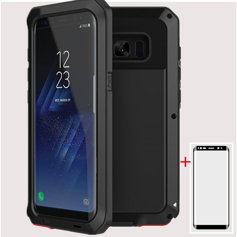 AKASO Luxury Armor Dirt Shock Metal Aluminum Case + screen protecto For Samsung S4 S5 S6 S6edge S7 S8 S8plus S7edge Note 8 case