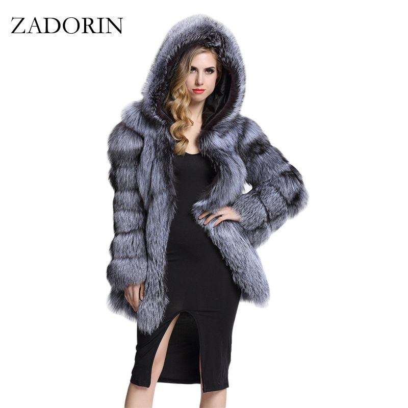 ZADORIN Elegant Long Faux Fur Coat fluffy Jacket 2017 Winter Women Thick Warm Faux Fur Coats With Hooded White Black Plus Size