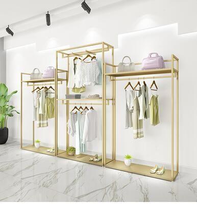 Gold kleidung shop-display rack-stil doppel-schicht kleidung rack männer und frauen kleidung shop dekoration design hohe.