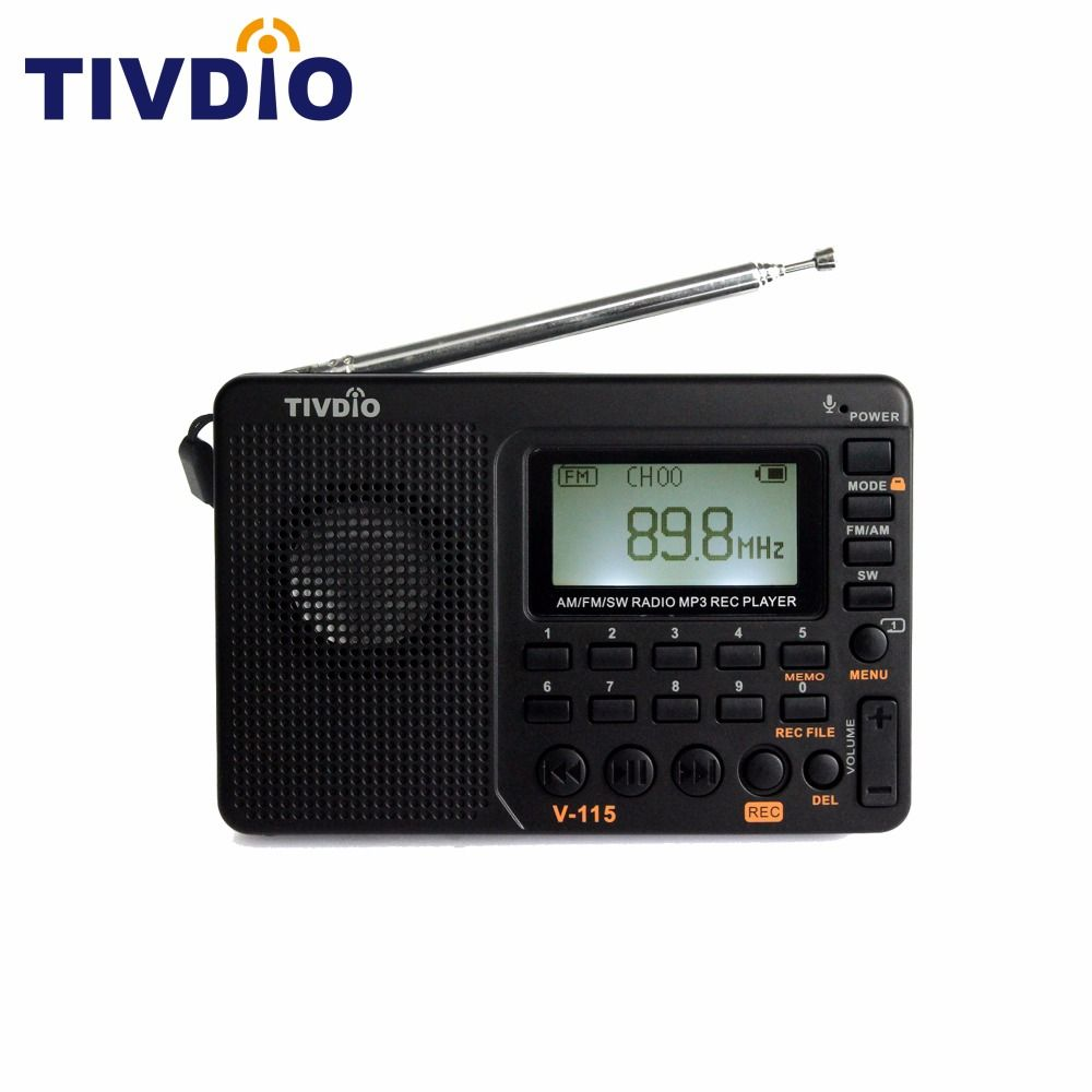 Tivdio V115 Radio FM/AM/SW World Band Receiver MP3 Player REC Recorder With Sleep Timer Black FM Radio Recorder F9205A