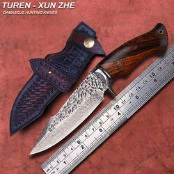 TUREN-Zhe Xun 60 HRC Handmade Damaskus berburu pisau lurus rosewood/ebony menangani dengan sarung kulit samak nabati