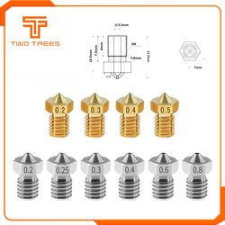 10pcs/lot 3D Printer Accessories V5 V6 Nozzle 1.75mm Nozzles 0.2 0.25 0.3 0.4 0.5mm for 1.75mm 3.0mm filamnet Full Metal E3D