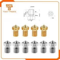 10pcs/lot 3D Printer Accessories V5 V6 Nozzle 1.75mm Nozzles 0.2 0.25 0.3 0.4 0.5mm for 1.75mm filamnet Full Metal E3D
