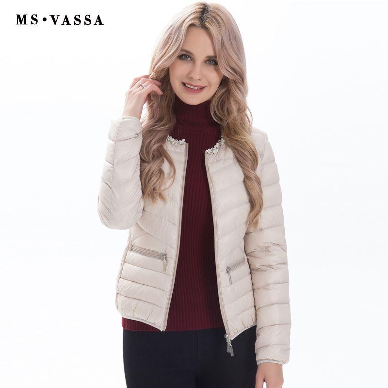 MS Vassa Женская куртка 2017 новые модные украшения с жемчугом на шее Для женщин Белая куртка с утиным пухом плюс более размер s-7xl