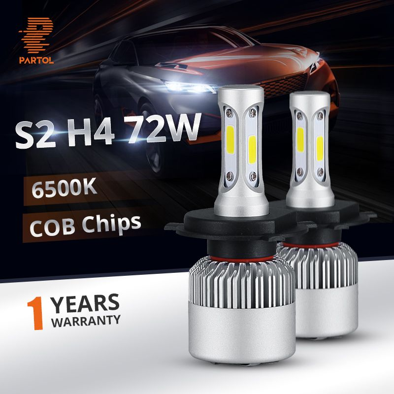 Partol S2 H4 Car LED Headlight Bulbs 72W 8000LM Hi Lo Beam LED H4 Automobile Headlamp12V 24V 6500k for Lada Fiat Honda Toyota