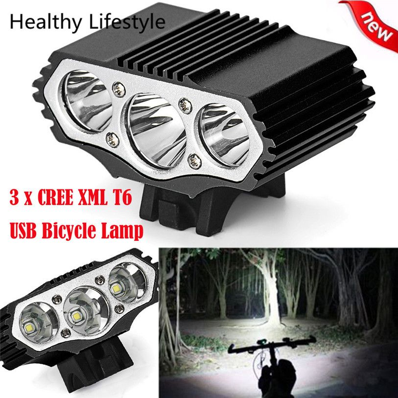 12000 Lm 3 x XML T6 LED 3 Modes Bicycle Lamp Bike Light Headlight Cycling Torch Outdoor Bike Bicycle Light Accessories WS&40