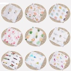 Mousseline de Coton Couverture et L'emmaillotage Fruits Imprimer Multi-utiliser Nouveau-Né Swaddle Mousseline Infantile Gaze à la Fois une Serviette Bébé Chaîne Nouveau