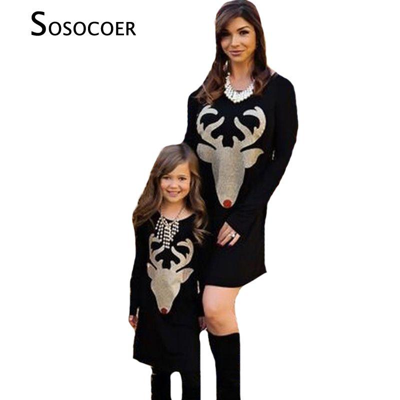 SOSOCOER Mère Fille Robes Automne De Noël Cerfs Famille Correspondant Vêtements Tenues Bois À Manches Longues Maman Fille Robe
