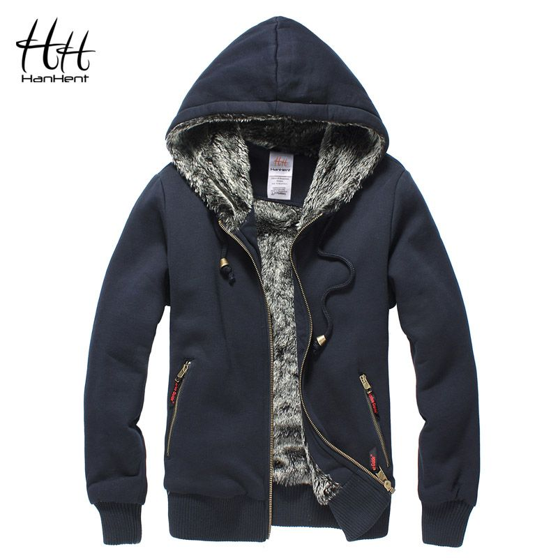 HanHent Super Thickened Brand Men Coats Faux Fur Fashion Mens Tracksuit Wear Polo Hoodie Winter Sweatshirt AG0014