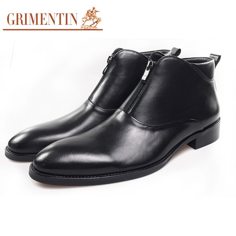 GRIMENTIN men business boots with zipper genuien leather black formal shoes 2018 hot sale