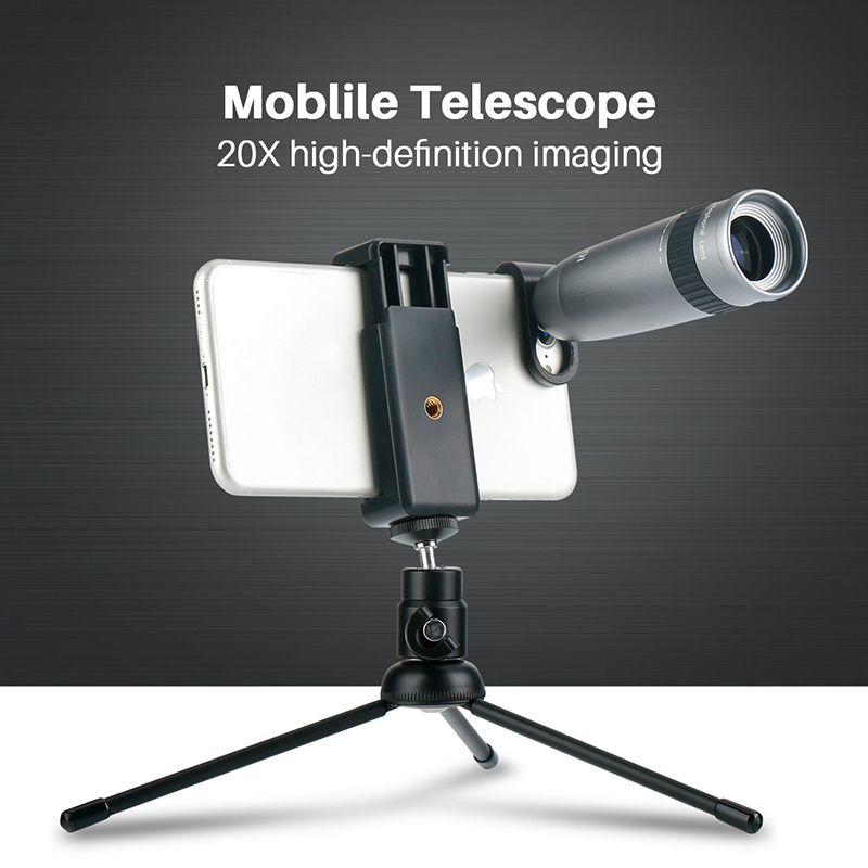 Universal 20X Teleobjektiv für Telefon Zoom Optische Teleskop Kamera Objektiv mit Clips für iPhone X Xs Max 8 7 plus Huawei HTC