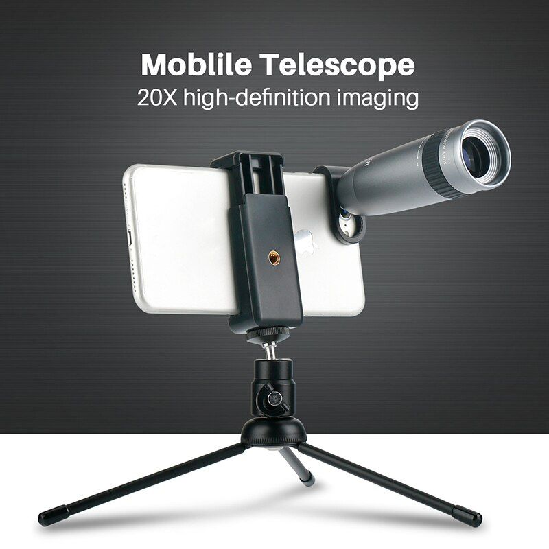 Universal 20X Telephoto Lens for Phone Zoom Optical Telescope Camera Lens with Clips for iPhone X Xs Max 8 7 Plus Huawei HTC
