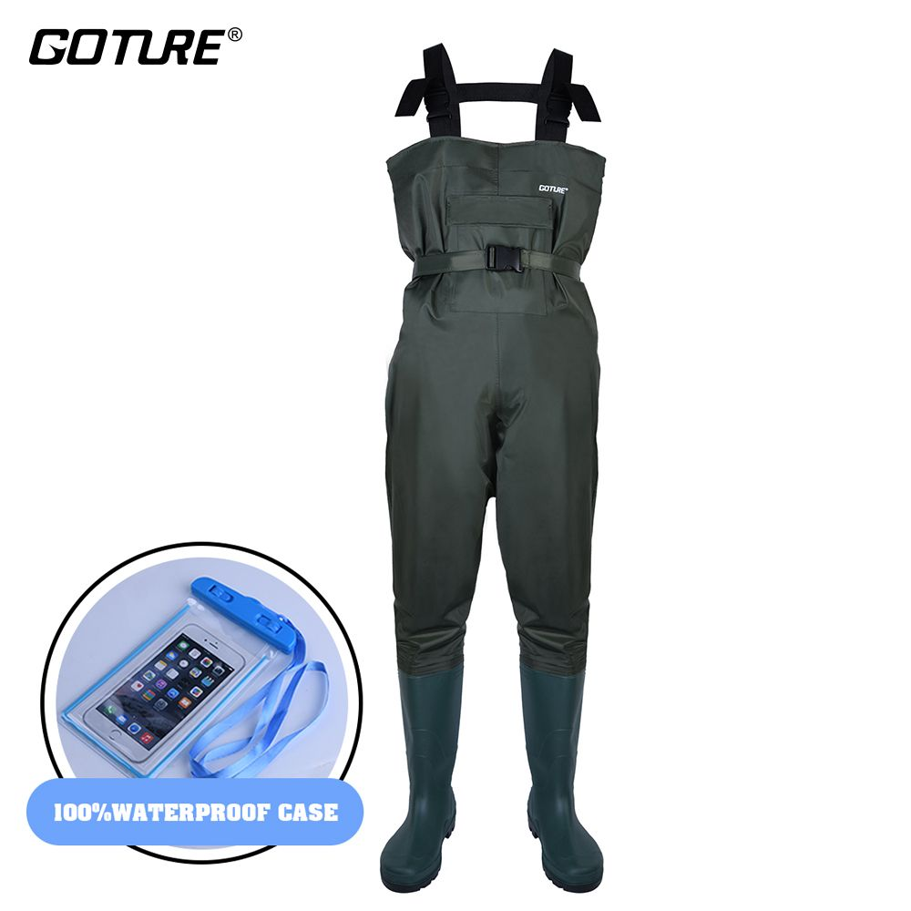 Goture Bootfoot Chest Fishing Waders Breathable&100% Waterproof Wader with Adjust Belt&Waterproof Case for Fly fishing/Hunting