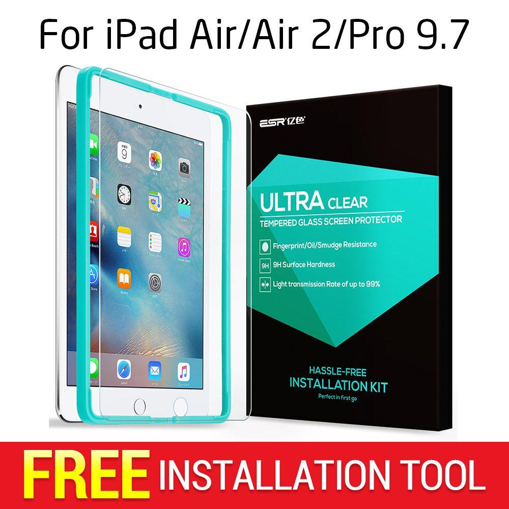 Displayschutzfolie für iPad 2017/Luft/Air 2/Pro 9,7, ESR Dreibettzimmer Strength Gehärtetem Glas Film mit Freies Applikator für iPad 9,7 zoll