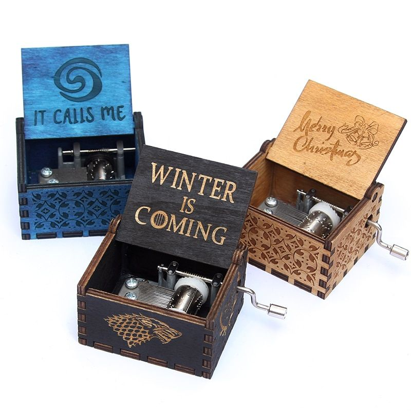 Hand Crank beauty and the beast wooden Music Box Game Of Thrones Star Wars Christmas gift, new year gift, birthday gift