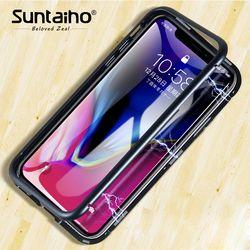 Suntaiho magnétique adsorption Téléphone cas pour iPhone X pour l'iphone 8 cas Magnétique En Verre Trempé retour Cas de Téléphone pour iPhone 7 cas