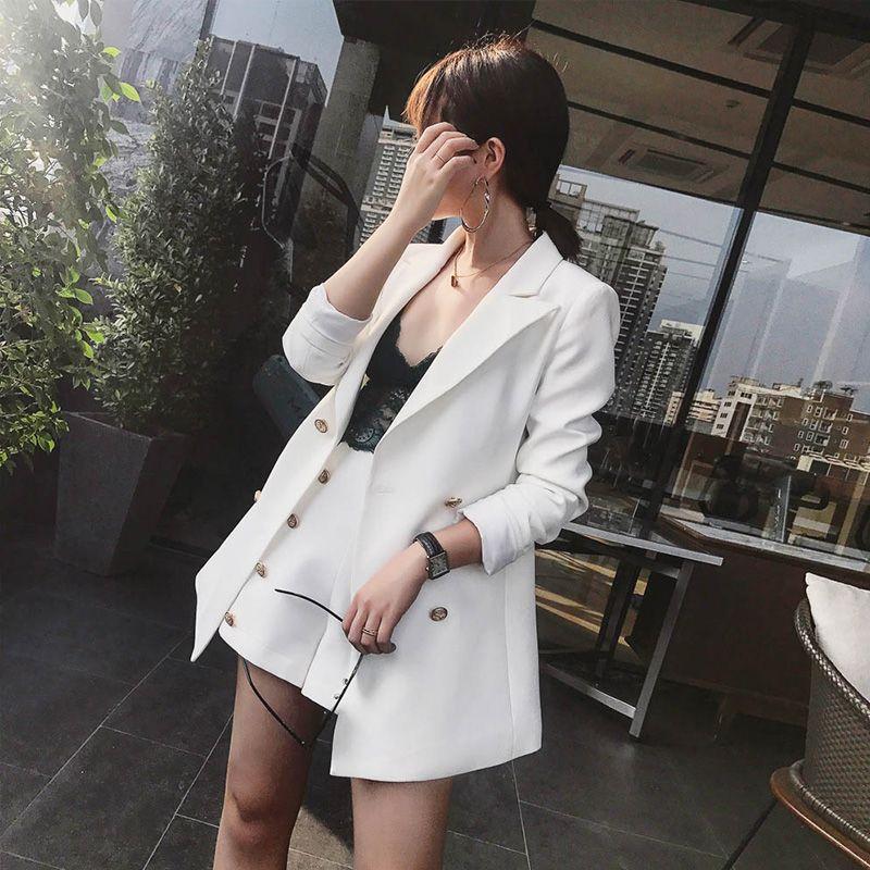 2017 Office Lady Rivet Vintage Suits 2 Piece Sets Elegant Notched Solid Jacket Blazer + Fashion High Waist Mini Shorts Outfits
