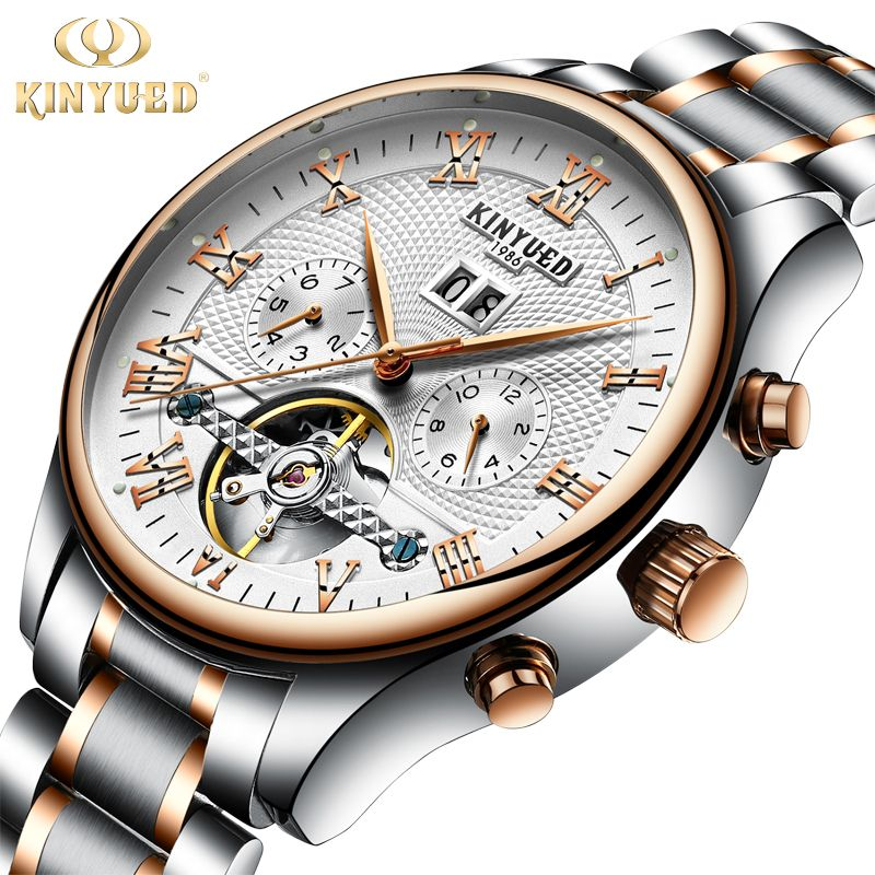 Kinyued Hot Fashion <font><b>Mechanical</b></font> Watches Men Top Luxury Brand Automatic Stainless Steel Band Hand Watch Tourbillon Wristwatch